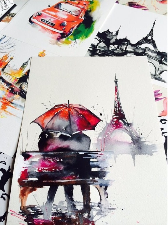 Paris Aquarellbild