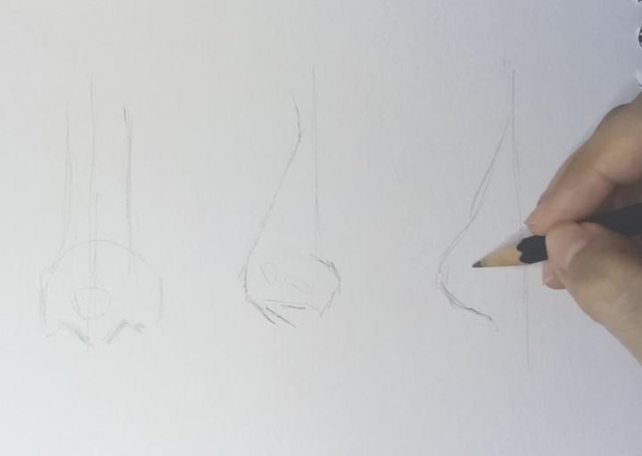 Realistische Nase zeichnen lernen 1