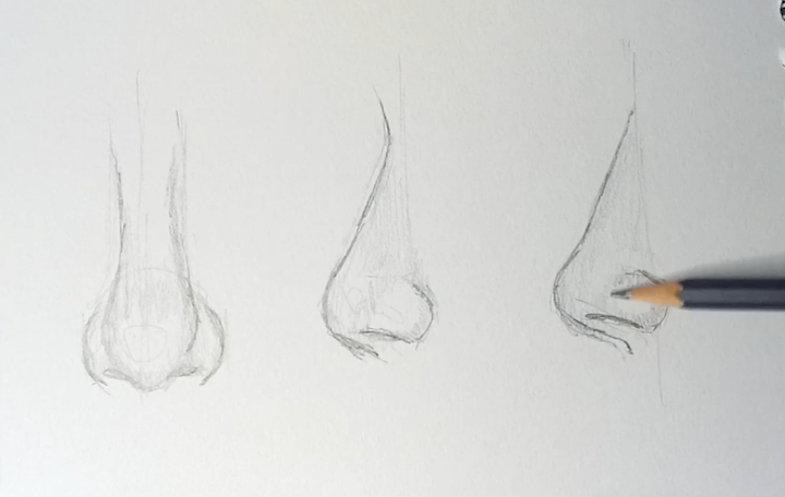 Realistische Nase zeichnen lernen 2